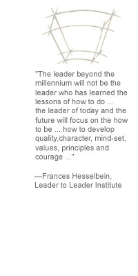 """The leader beyond the millennium will not be the leader who has learned the lessons of how to do ... the leader of today and the future will focus on the how to be ... how to develop quality, character, mind-set, values, principles and courage ..."" -- Frances Hesselbein, Leader to Leader Institute"